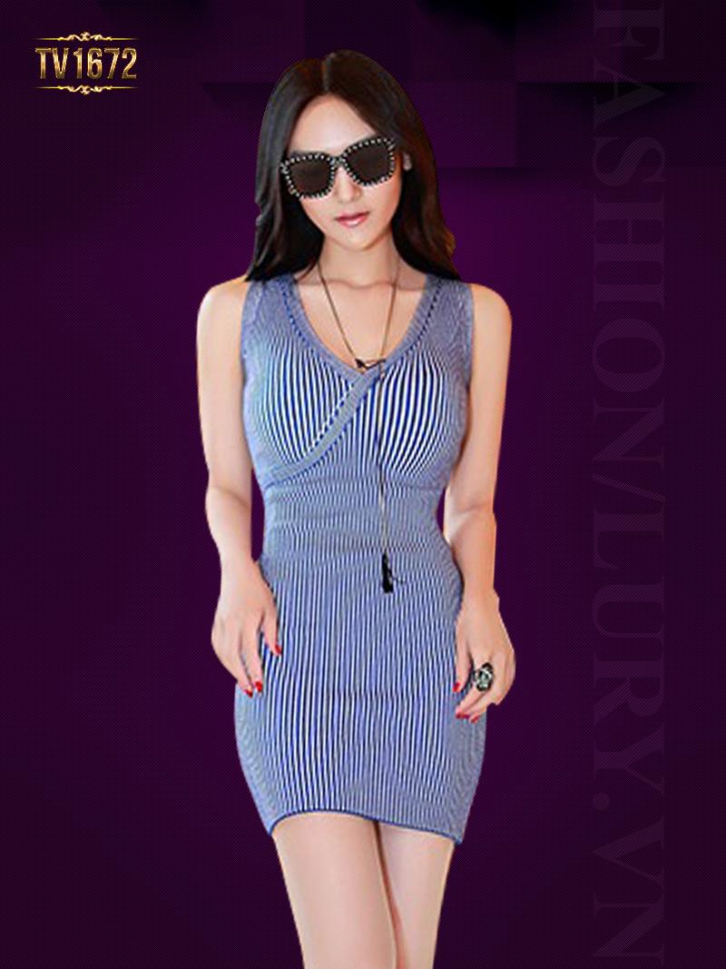 Đầm body kẻ sọc xanh sát nách thời trang TV1672