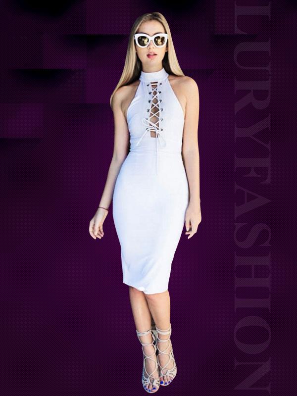 Đầm body thắt dây ngực màu trắng quyến rũ TV725