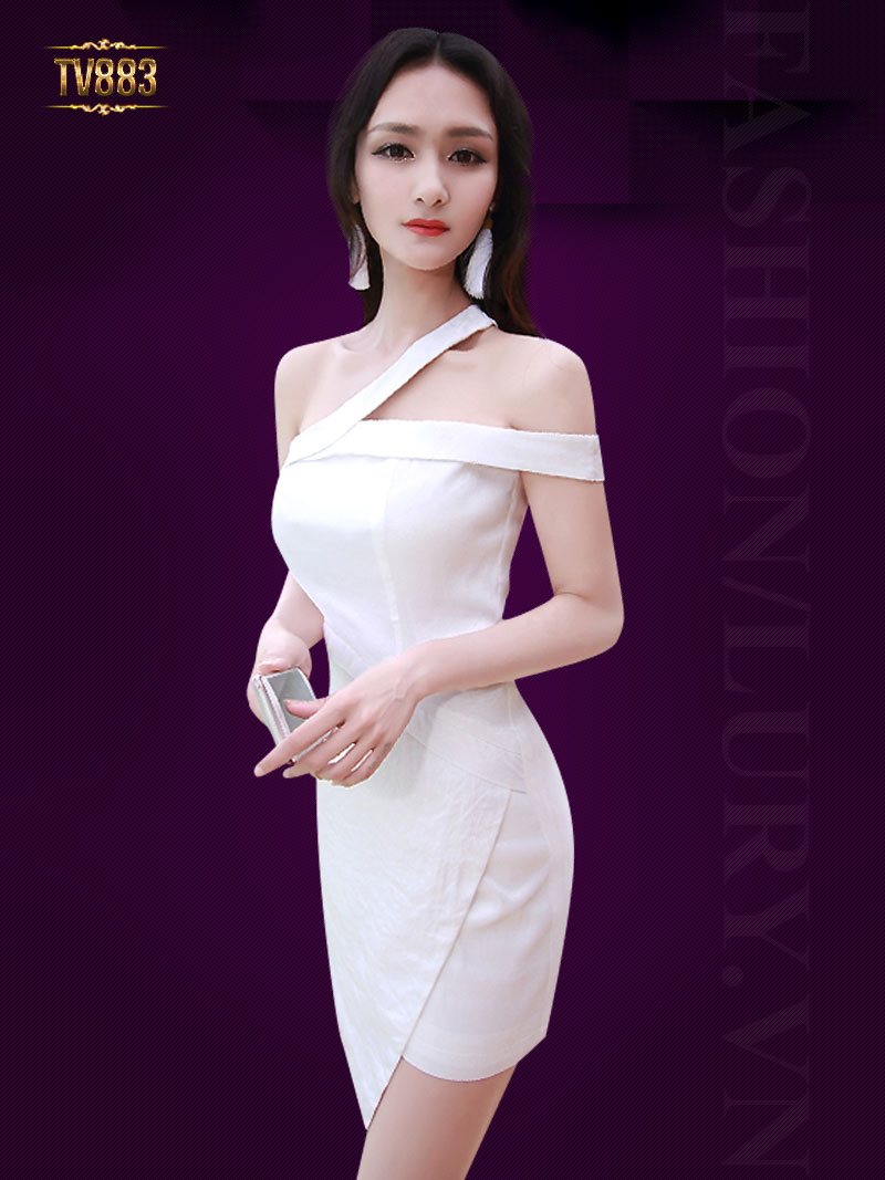 Đầm body trắng hai quai lệch vai vạt lệch thời trang TV883