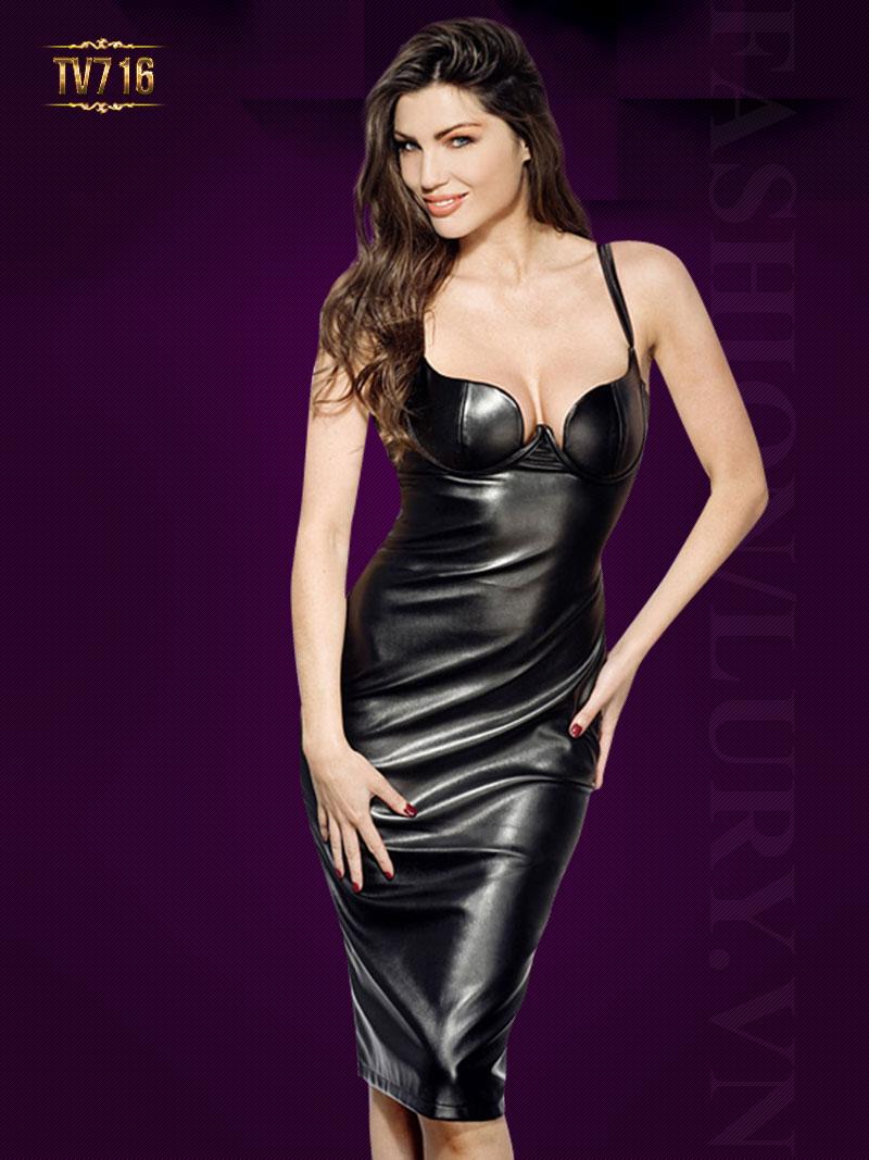 Đầm da hai dây body cúp ngực quyễn rũ TV716 (Màu đen)