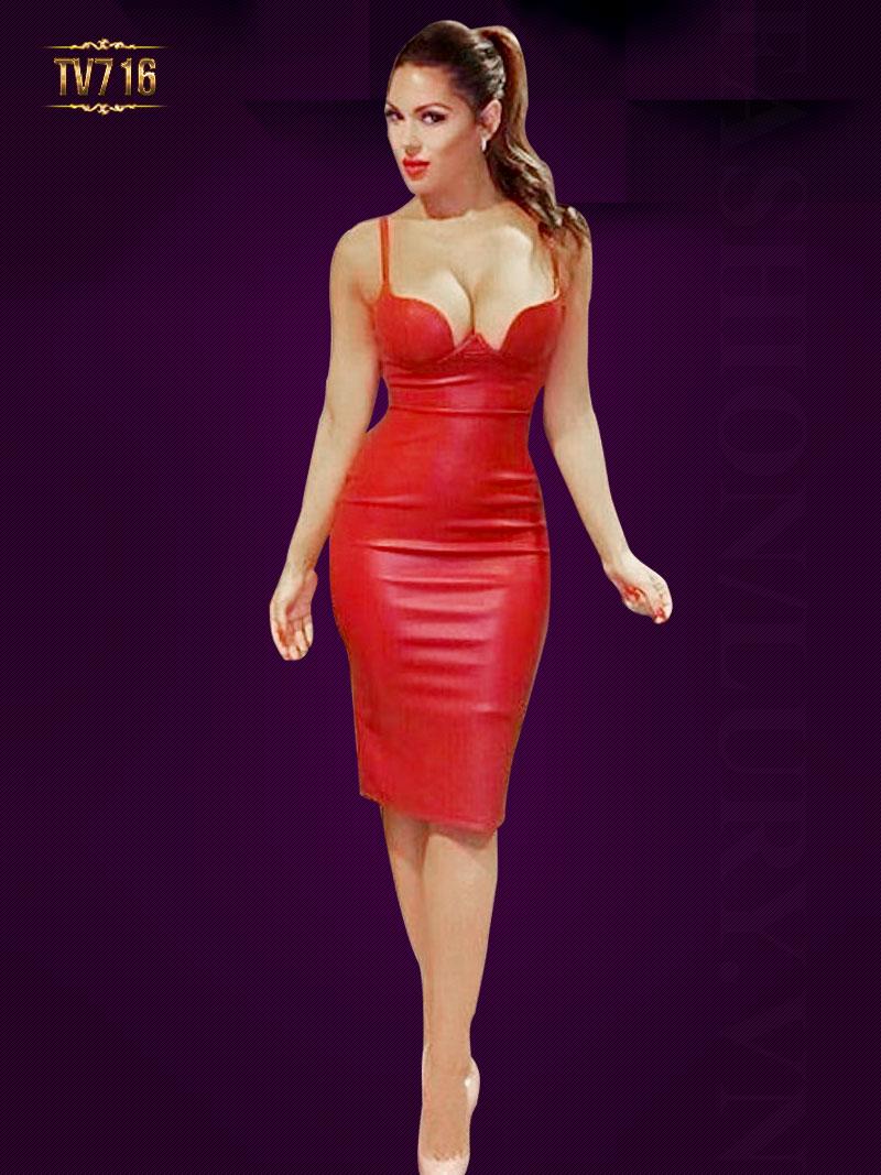 Đầm da hai dây body cúp ngực quyễn rũ TV716 (Màu đỏ)