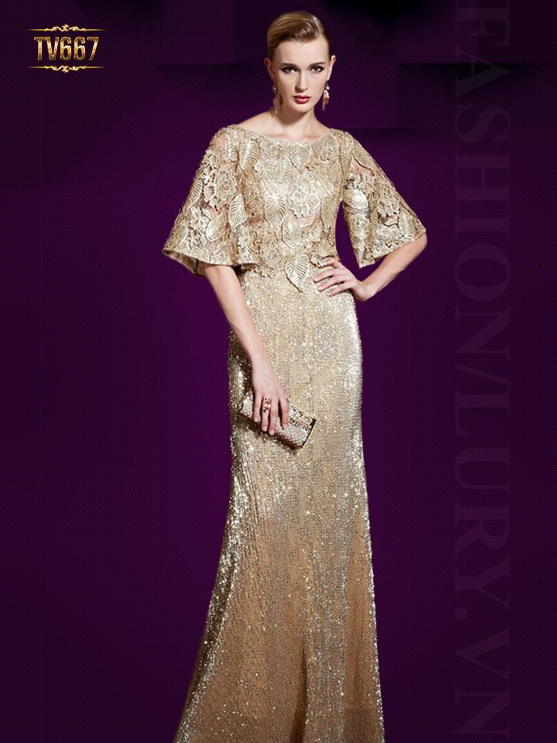 Đầm dạ hội ánh kim phối hoa ren họa tiết quý phái TV667