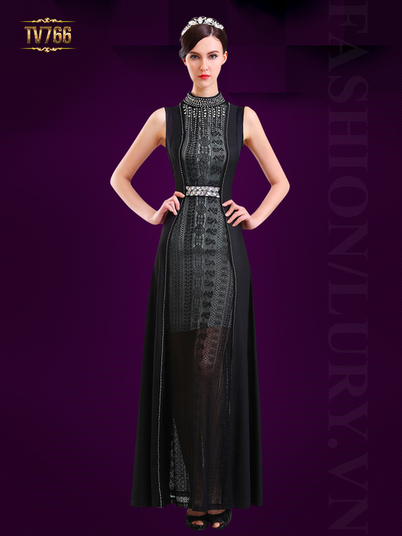 Đầm dạ hội thiết kế cao cấp phối ren sang trọng TV766