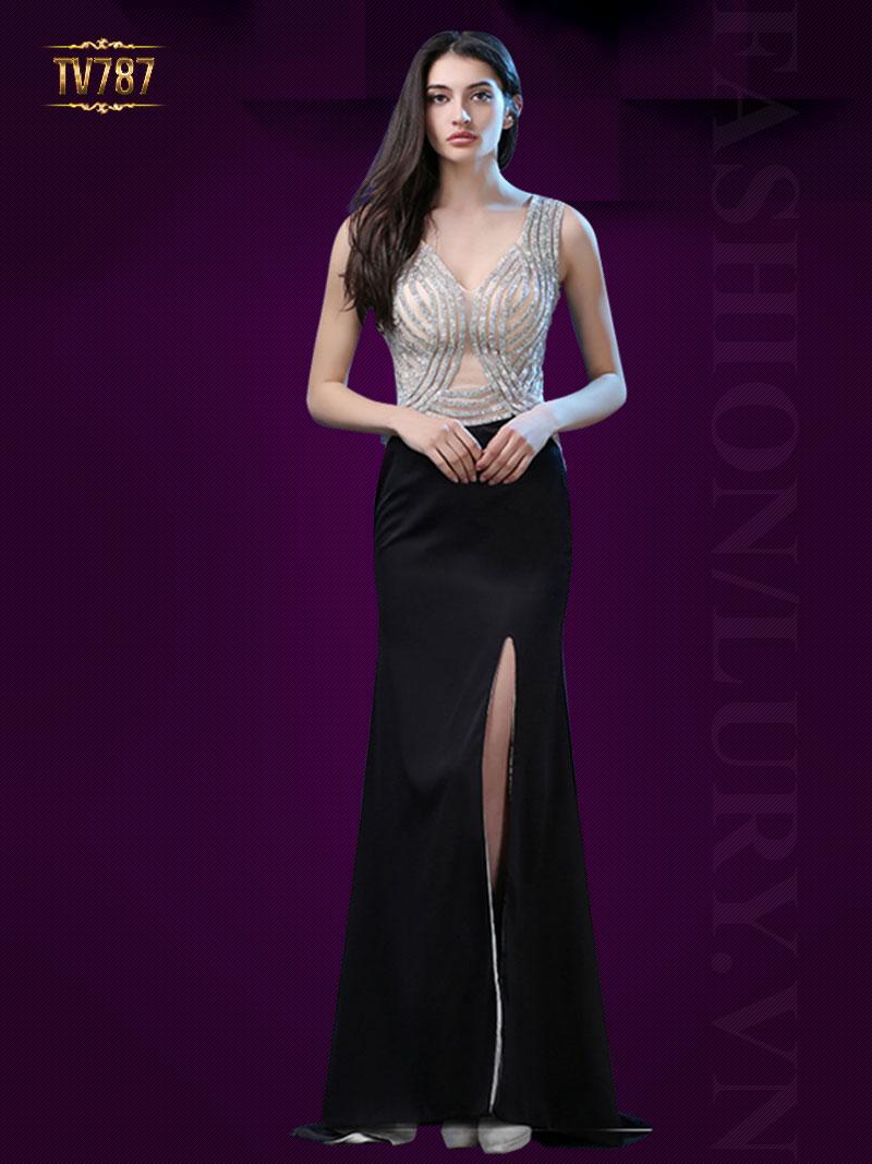 Đầm dạ hội cao cấp thân kết cườm phối chân váy xẻ cao quyến rũ TV787