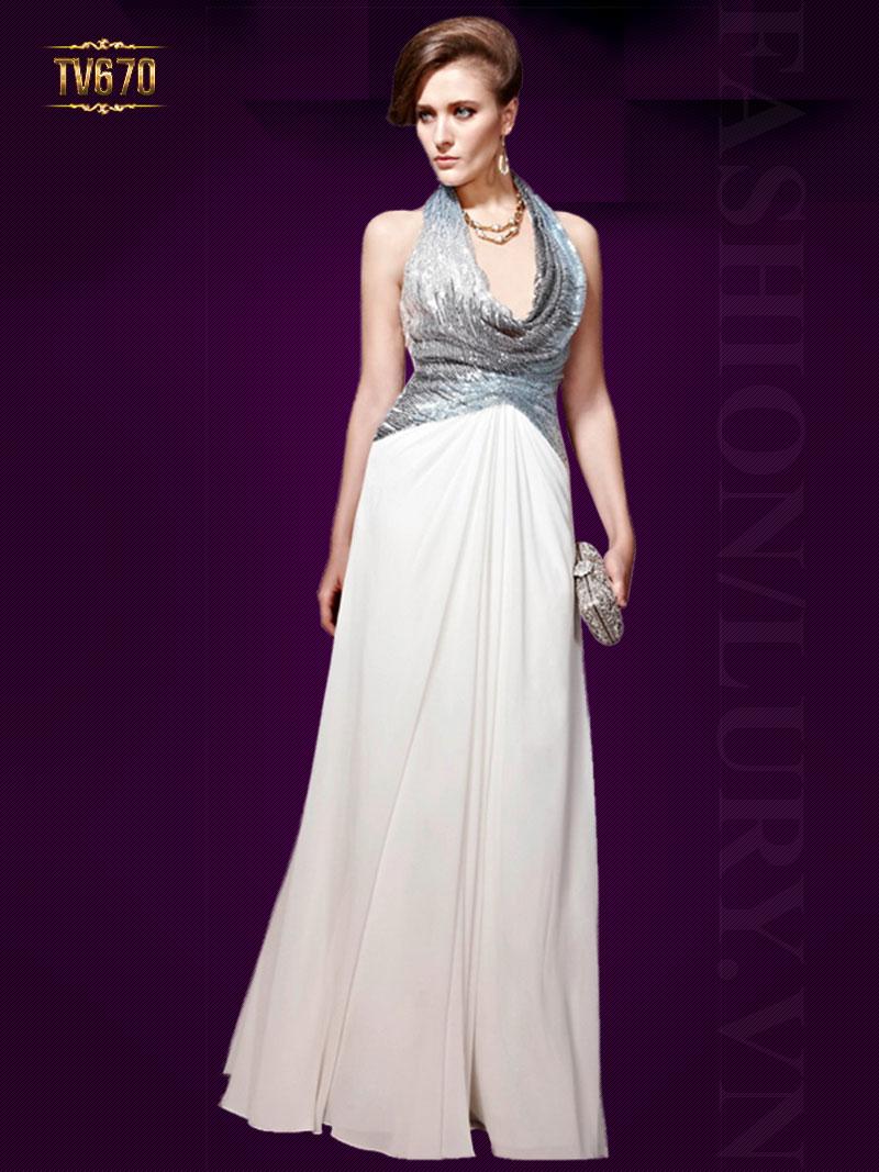 Đầm dạ hội chiffon cao cấp phối thân ánh nhũ quyến rũ TV670