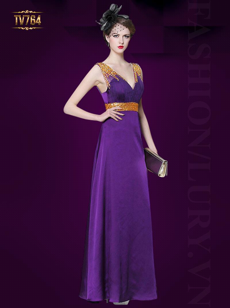 Đầm dạ hội thiết kế cổ V đính cườm sang trọng TV764