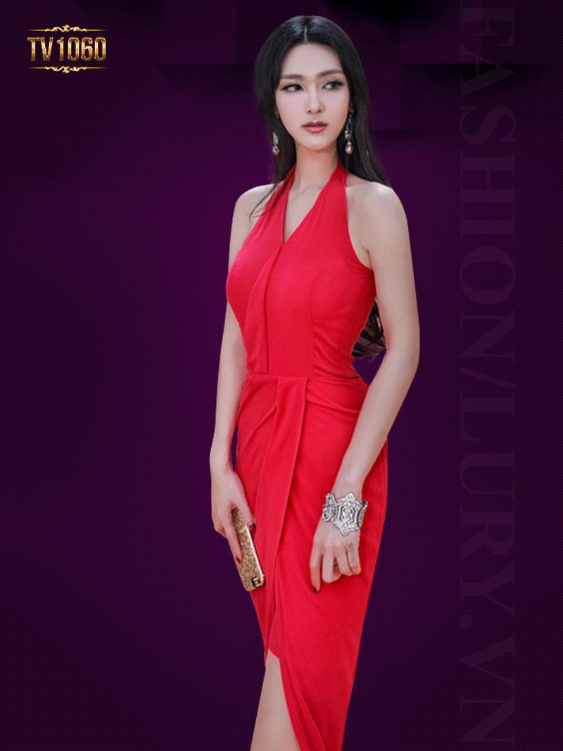 Đầm dạ hội cổ yếm xếp vạt thân trước TV1060 (Màu đỏ)