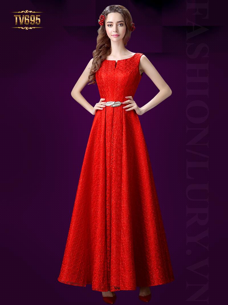 Đầm dạ hội dáng dài cổ xẻ kèm đai cao cấp TV695