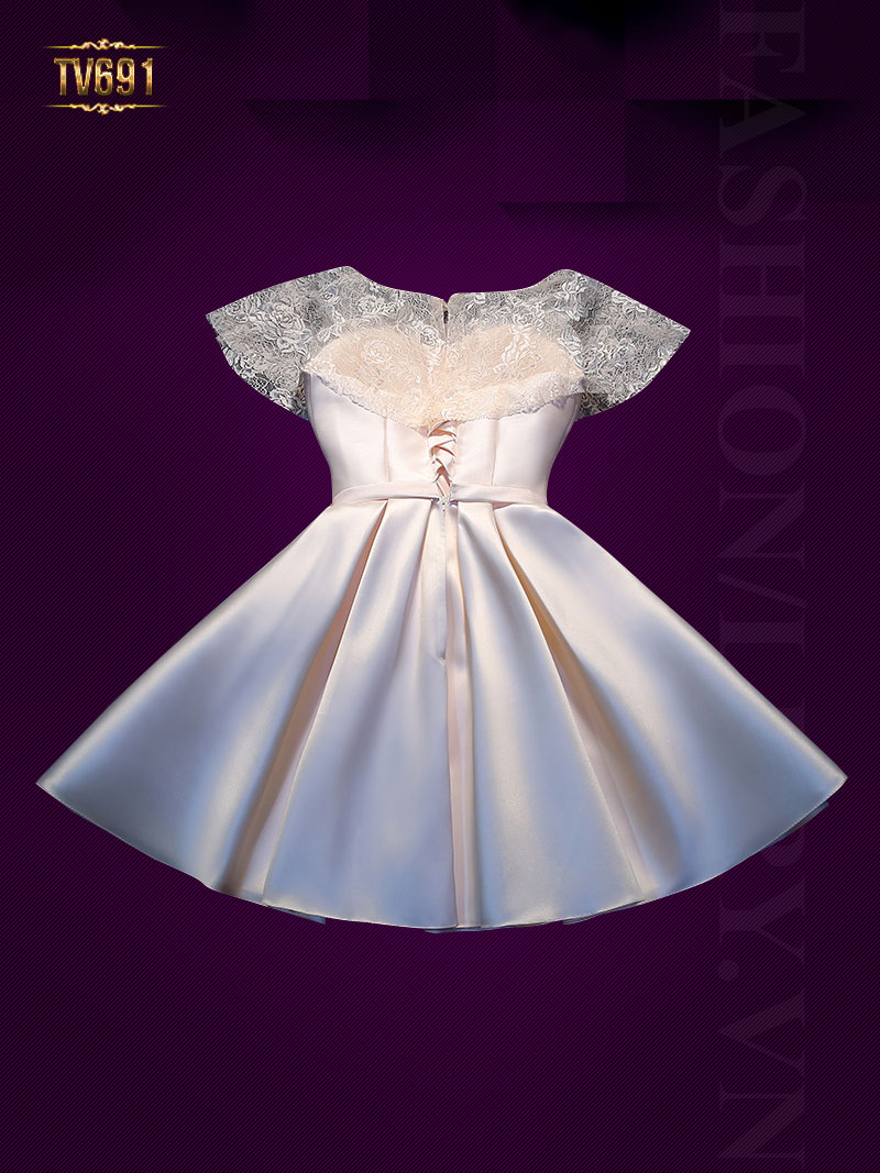 Đầm dạ hội dáng xòe xếp ly nơ eo cao cấp TV691-1