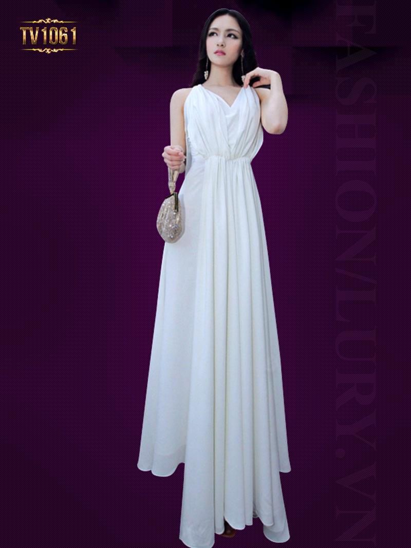 Đầm dạ hội đơn sắc dây lưng xích quyến rũ TV1061
