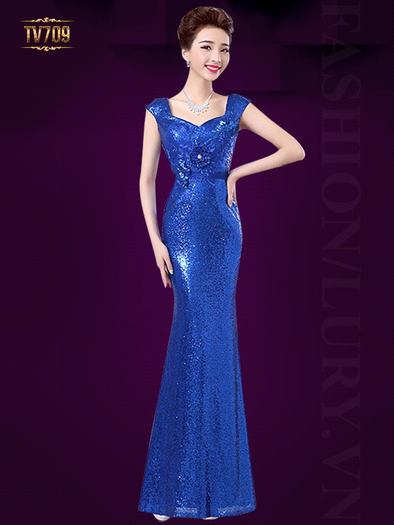 Đầm dạ hội đuôi cá kết đính họa tiết sang trọng TV709 (Màu xanh)