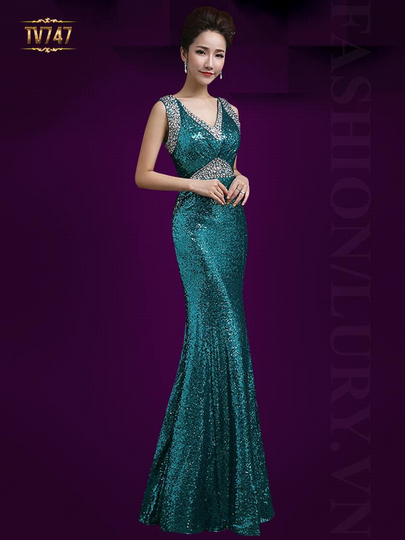 Đầm dạ hội đuôi cá kết đính cườm hạt cao cấp TV747 (Màu xanh)
