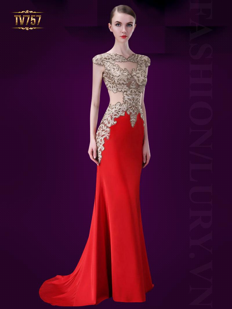 Đầm dạ hội đuôi cá thiết kế đính kết họa tiết cao cấp TV757