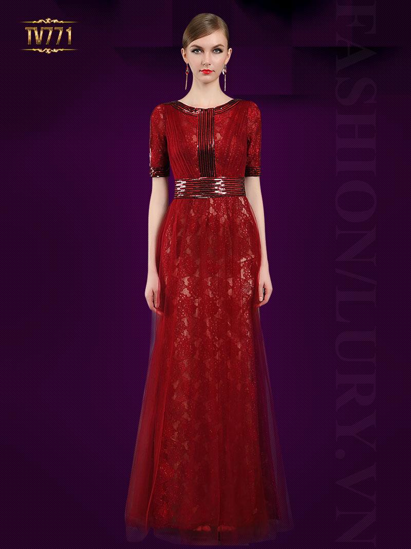 Đầm dạ hội hoa ren đỏ phối kết cườm sang trọng TV771