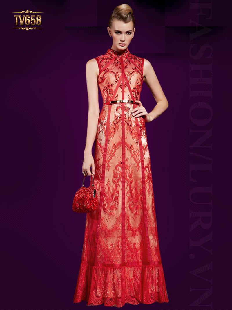 Đầm dạ hội hoa ren đỏ sát nách sang trọng
