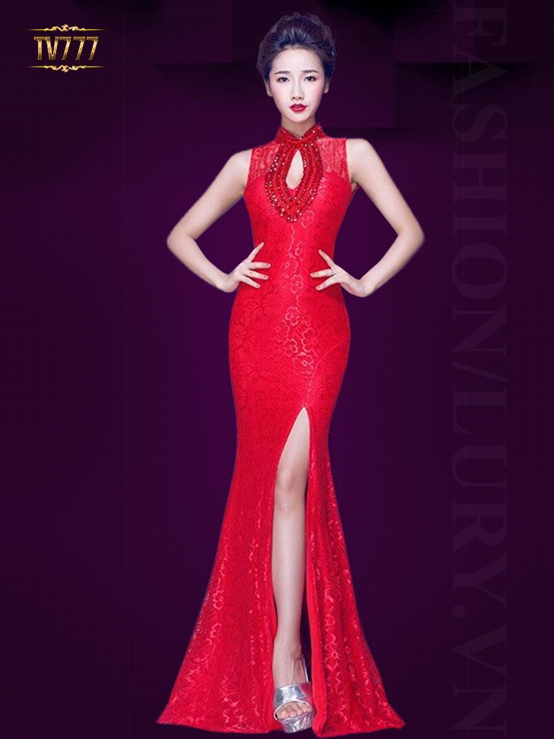 Đầm dạ hội hoa ren xẻ tà cổ khoét giọt lệ kết cườm sang trọng TV777 (Màu đỏ)