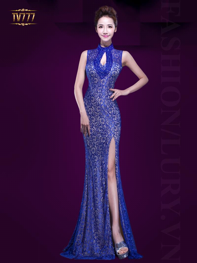 Đầm dạ hội hoa ren xẻ tà cổ khoét giọt lệ kết cườm sang trọng TV777 (Màu xanh)