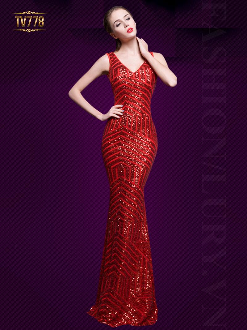 Đầm dạ hội họa tiết sequin cao cấp lưng phối lưới quyến rũ TV778 (Màu đỏ)