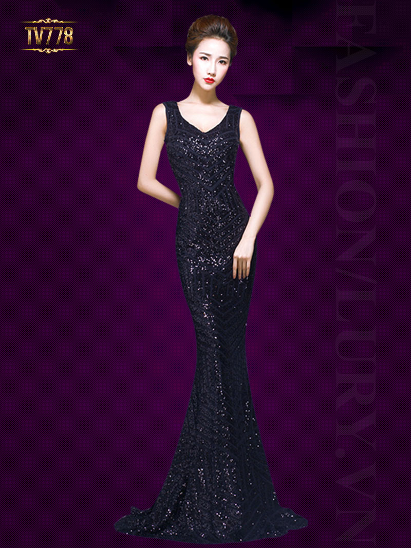 Đầm dạ hội họa tiết sequin cao cấp lưng phối lưới quyến rũ TV778 (Xanh than)