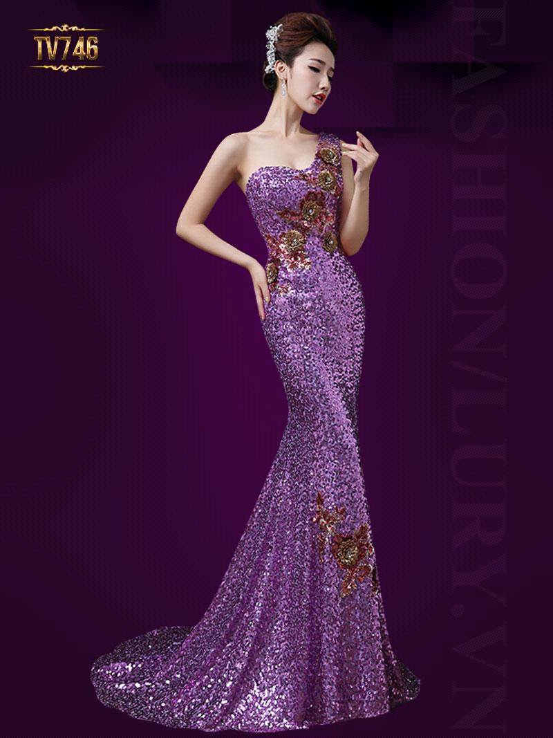 Đầm dạ hội lệch vai đính cườm gợi cảm TV746