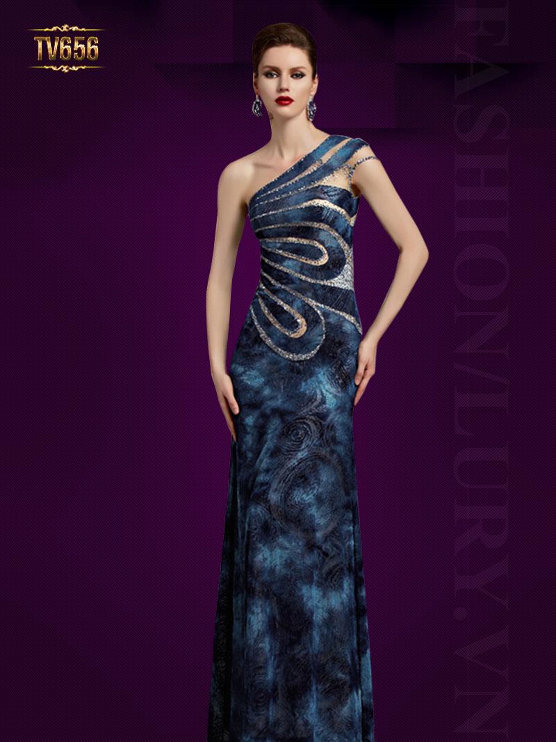 Đầm dạ hội lệch vai họa tiết phối ren đính cườm cao cấp TV656
