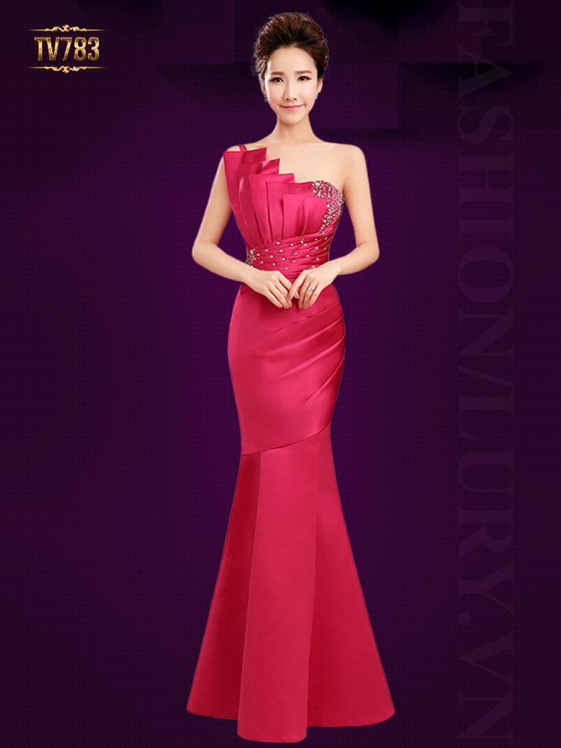 Đầm dạ hội lệch vai thiết kế xếp lớp đính cườm quyến rũ TV783