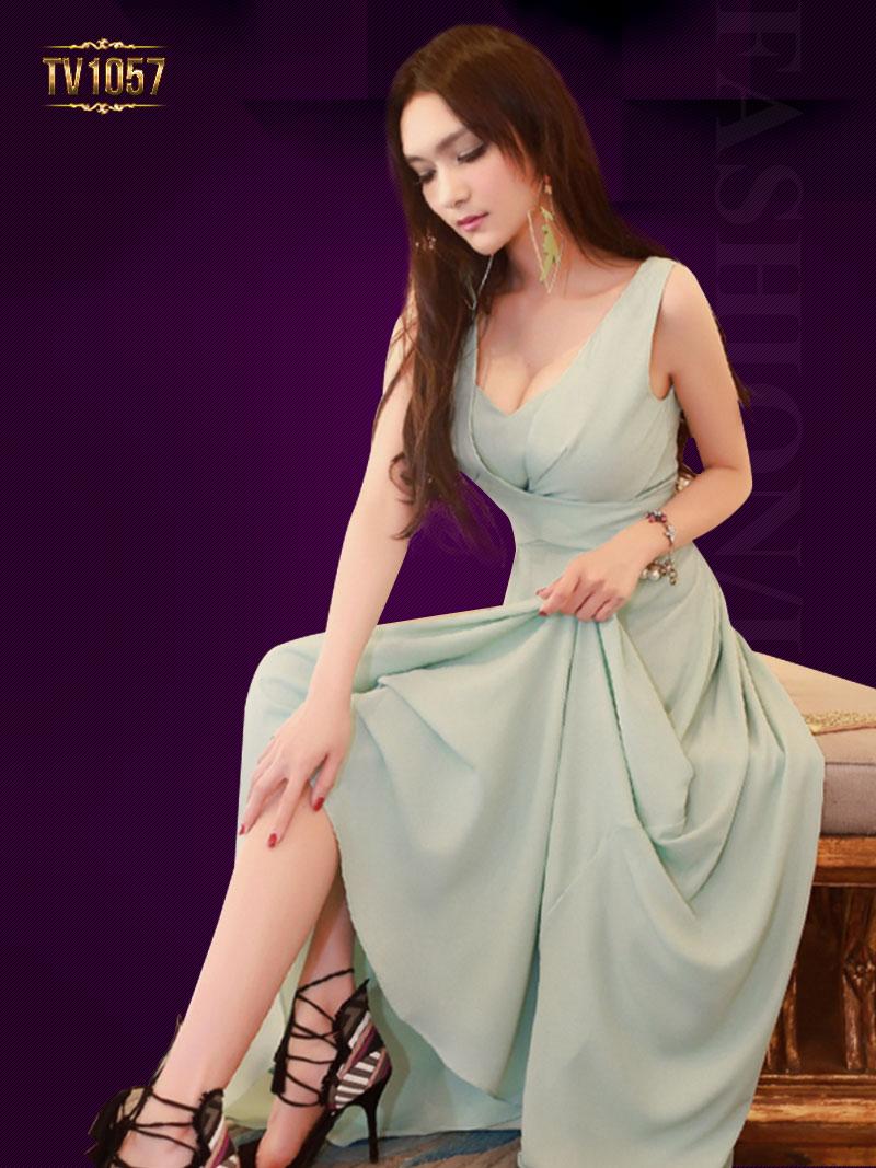 Đầm dạ hội sát nách thiêt kế đơn giản hiện đại TV1057