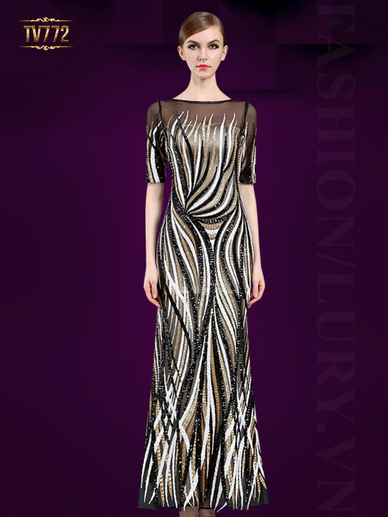 Đầm dạ hội thiết kế cao cấp cổ thuyền họa tiết lạ mắt TV772