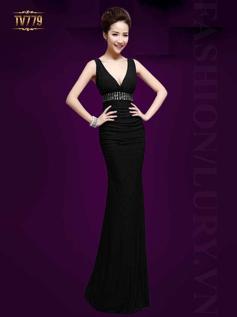 Đầm dạ hội thiết kế cao cấp cổ V đính đá hạt quyến rũ TV779 (Màu đen)
