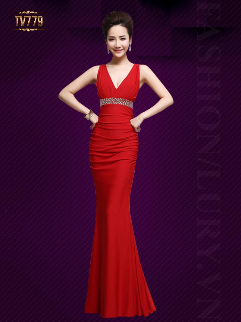 Đầm dạ hội thiết kế cao cấp cổ V đính đá hạt quyến rũ TV779 (Màu đỏ)