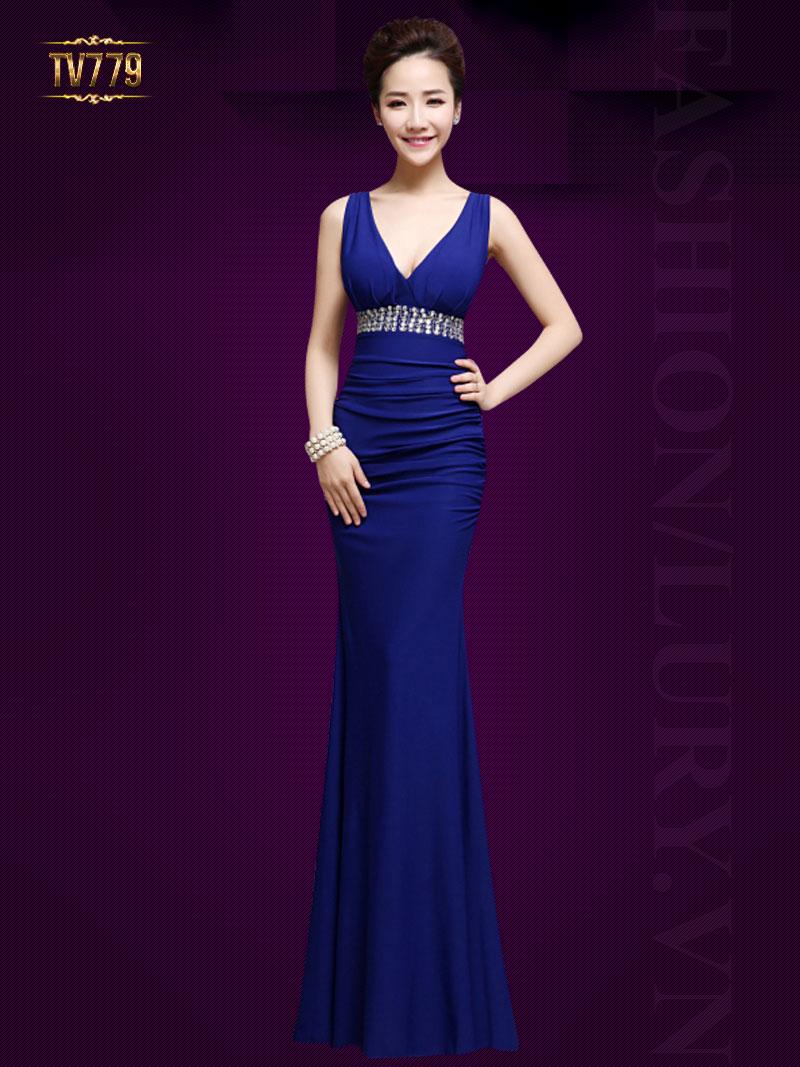 Đầm dạ hội thiết kế cao cấp cổ V đính đá hạt quyến rũ TV779 (Màu xanh)