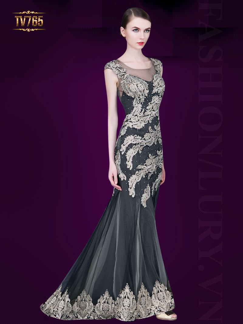 Đầm dạ hội thiết kế phối lưới đính kết họa tiết quý phái TV765