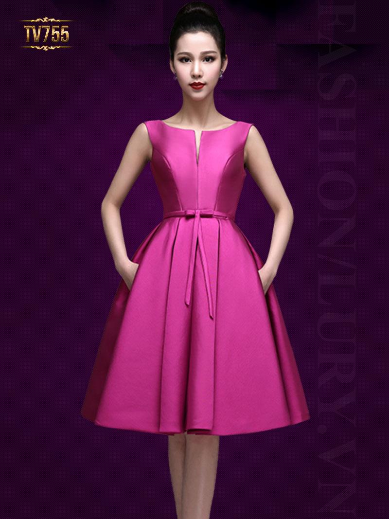 Đầm dạ hội xòe nơ eo quyến rũ (dáng ngắn) TV755 (Hồng sen)