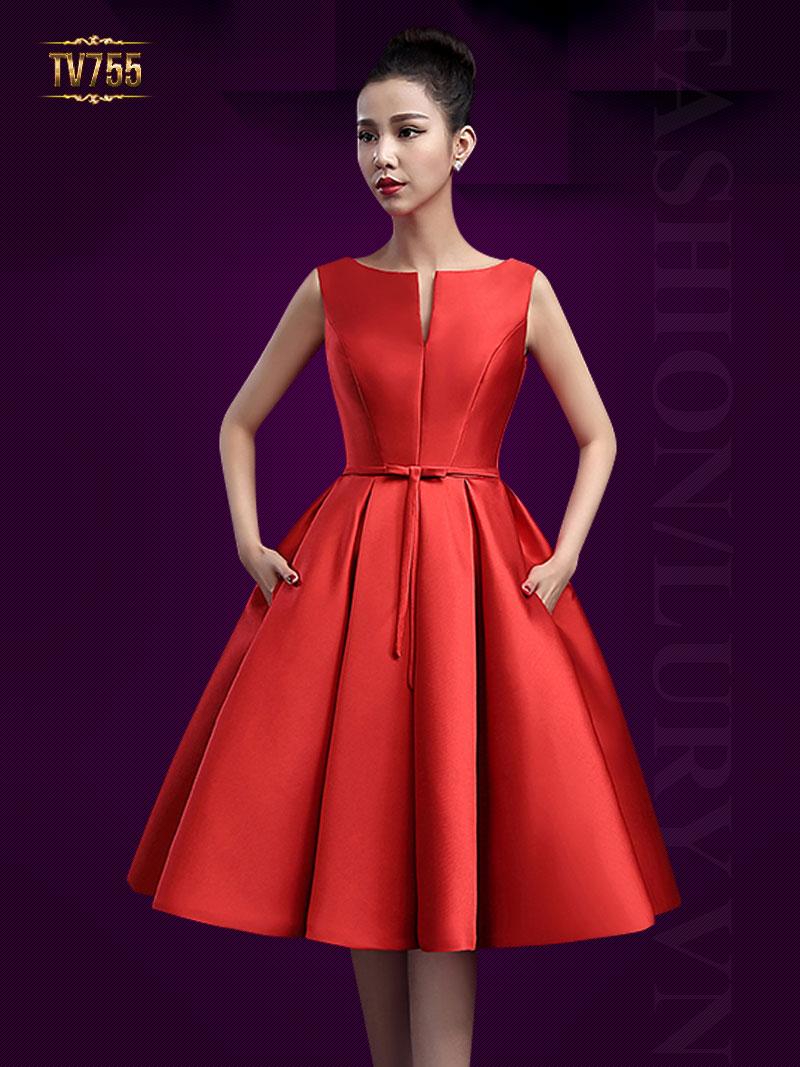 Đầm dạ hội xòe nơ eo quyến rũ ( dáng ngắn) TV755 (Màu đỏ)