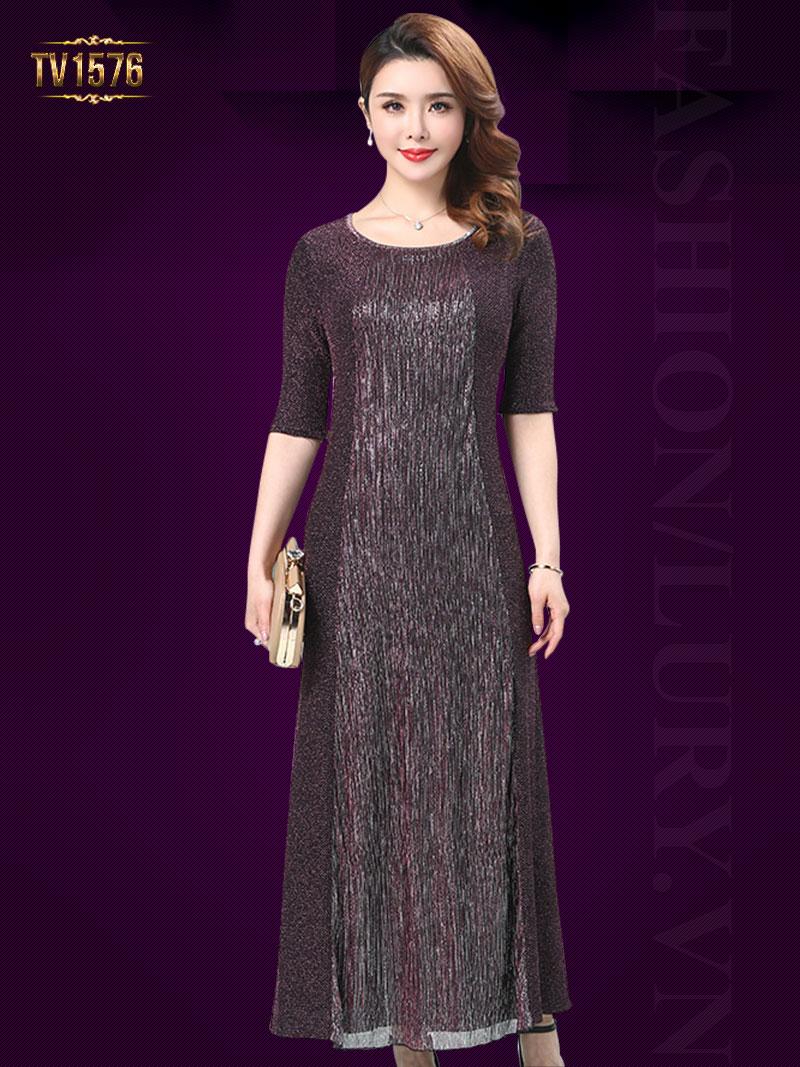 Đầm dạ nhũ xòe dáng dài tay lửng cao cấp TV1576