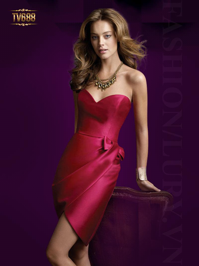 Đầm dạ tiệc cúp ngực màu đỏ quyến rũ TV688