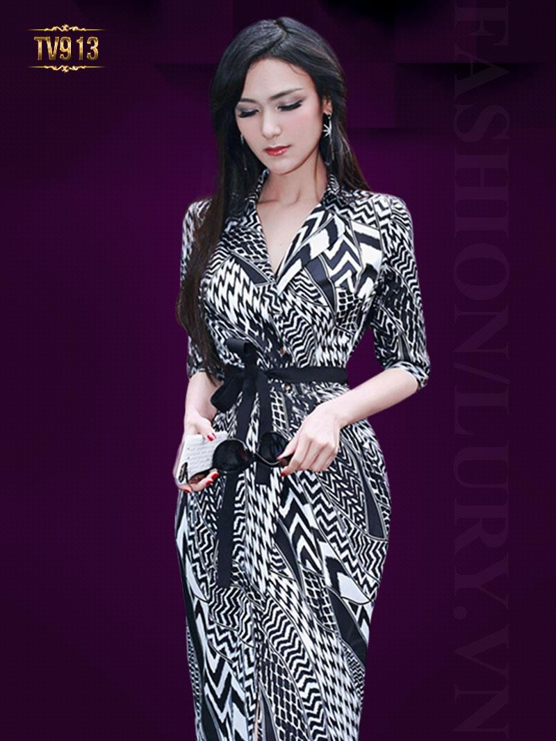 Đầm dài họa tiết đen trắng kèm dây đai đẹp TV913