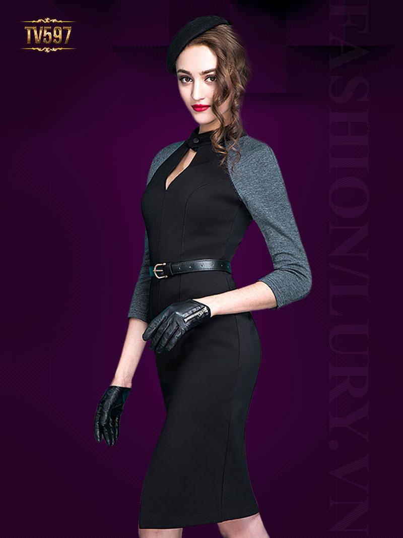 Đầm đen body tay ghi cổ khoét giọt lệ đẹp TV597