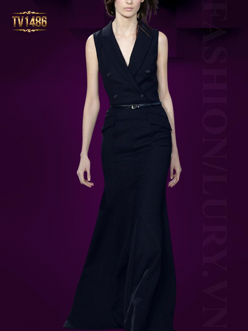Đầm đen sát nách cổ vest 2 túi chéo cao cấp TV1486