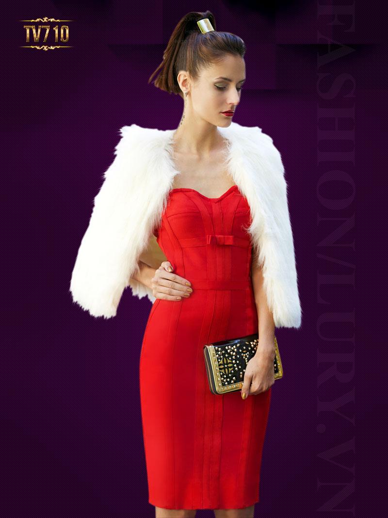 Đầm đỏ cúp ngực phối viền quyến rũ TV710