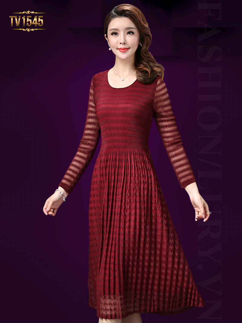 Dáng đầm xòe cao cấp thiết kế sọc ngang thời trang theo phong cách Hàn Quốc TV1545