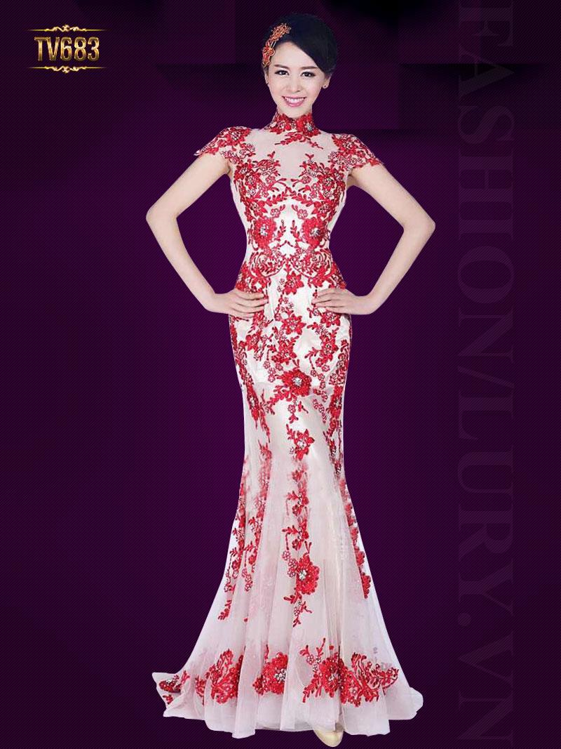 Đầm dự tiệc phối ren họa tiết thêu hoa đỏ cao cấp TV683