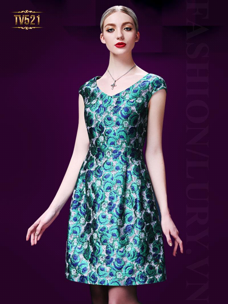 Đầm gấm hoa xanh dáng xòe cao cấp TV521