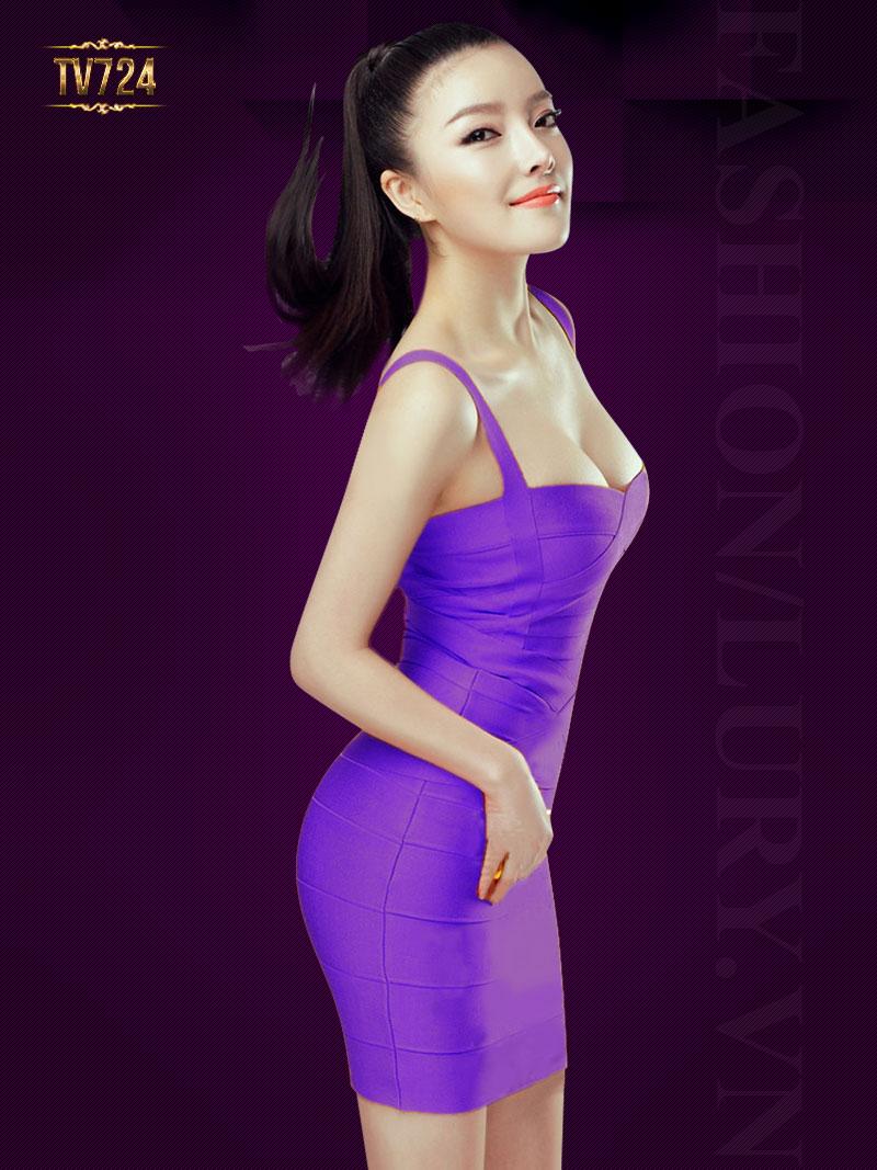 Đầm hai dây cúp ngực đơn sắc thời trang TV724 (Màu tím)