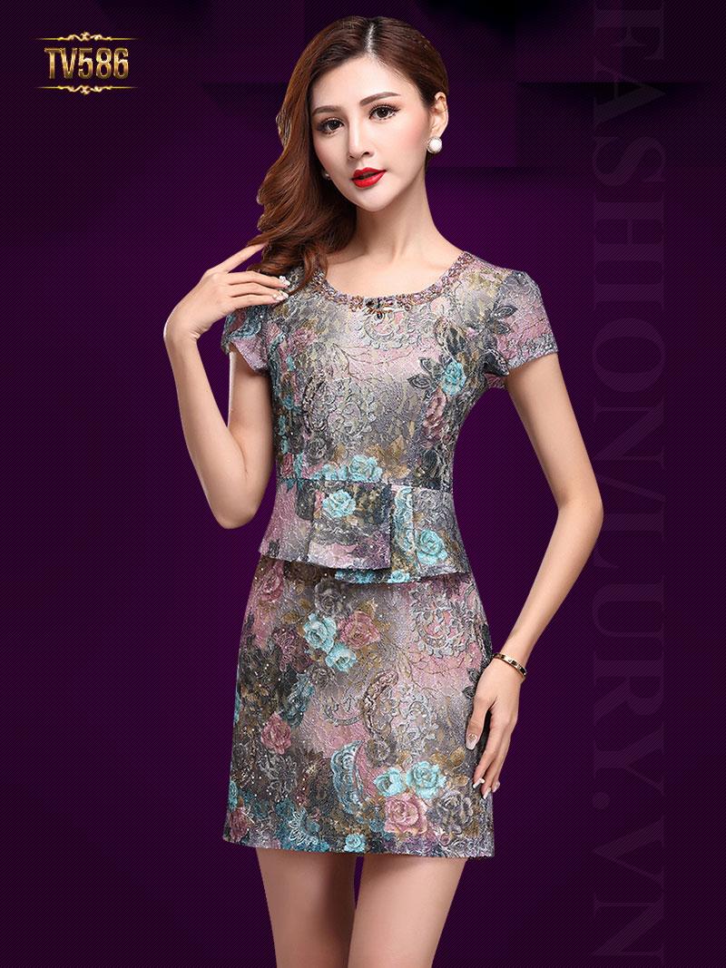 Đầm hoa gấm tay ngắn cao cấp TV586
