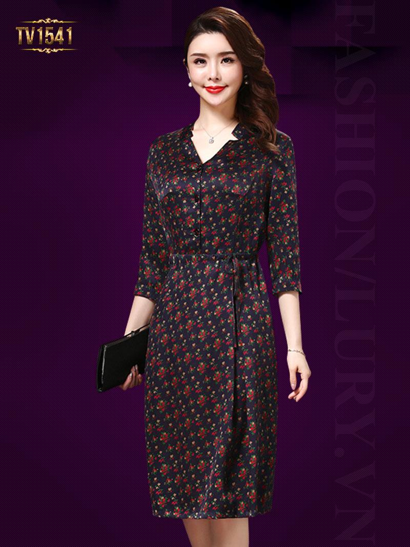 Đầm hoa nhí khuy cài tay lỡ cao cấp gam màu rất sang trọng và hiện đại TV1541