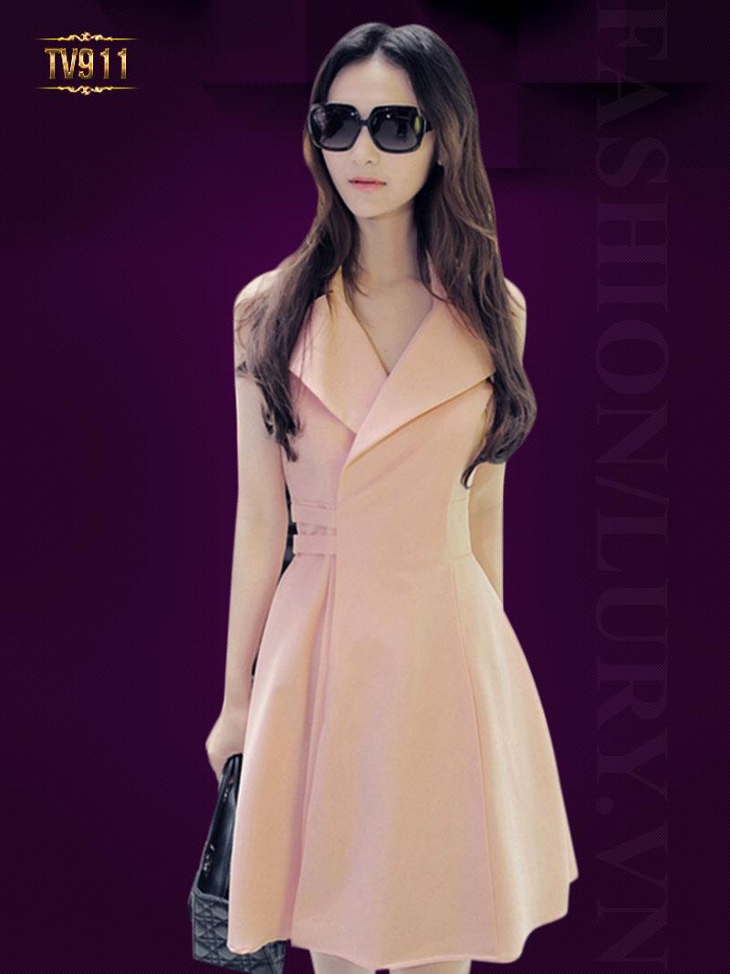 Đầm hồng sát nách cổ vest thời trang