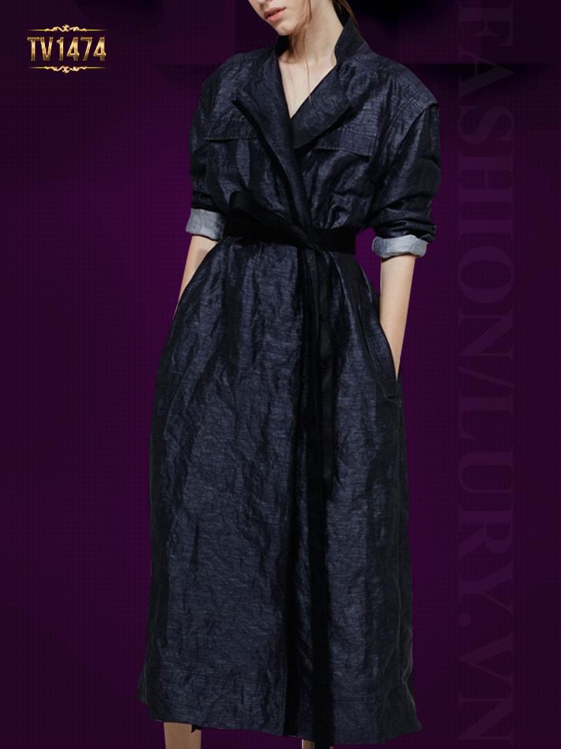 Đầm jean chữ A 2 túi ngực dáng dài phối đai thời trang TV1474