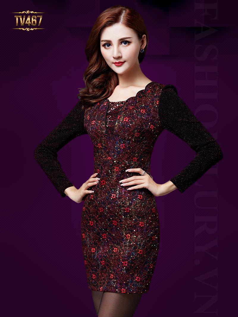 Đầm kim tuyến dài tay cao cấp cổ cách điệu TV467