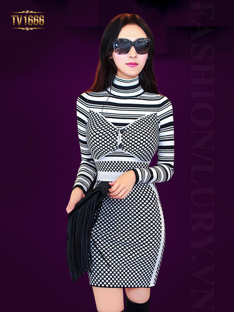 Đầm body len TV1666 mới 2017 phối họa tiết thời trang